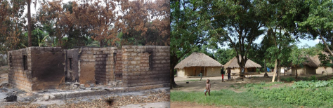 A before and after of the Marocki Village fire