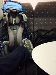 My boots and bags on a train in Belgium