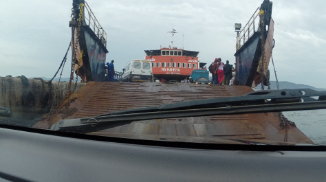 Driving onto the Freetown Ferry