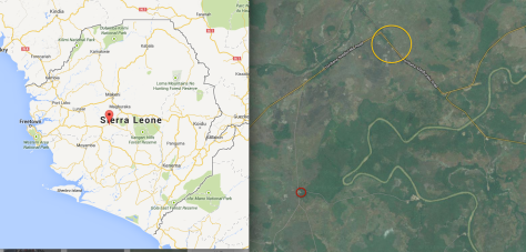 A map of where we were in Sierra Leone. The red circle is Marockie and our camp, the yellow circle is the village we were at when we found out about the hunting, though this village did not participate in that hunting.
